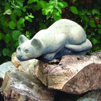 Crouching Cat Statue Garden Ornament