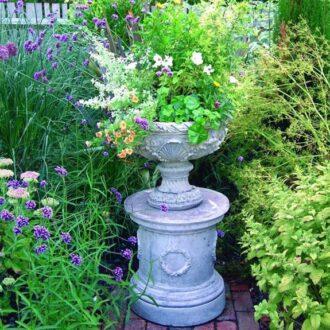 Belgian Vase With Plinth Garden Ornament