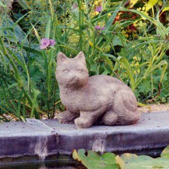 Stone Inquisitive Cat Statue Garden Ornament